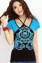 Ethnic Cotton Printing Strap Blouse - Blue (RM)