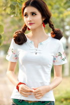 Ethnic Floral Embroidery Short-sleeve Blouse - White (RM)