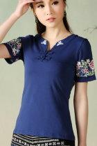 民族風短袖花卉刺繡上衣-藍色 (成衣)