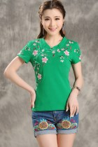 Ethnic Floral Embroidery Short-sleeve Blouse - Green (RM)