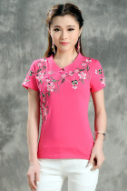 Ethnic Floral Embroidery Short-sleeve Blouse - Hot Pink (RM)