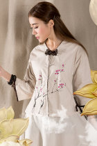 Ethnic Archaic Hand-painting 3/4-sleeve Blouse
