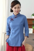 3/4-sleeve Cotton Linen Mandarin Blouse (CM)