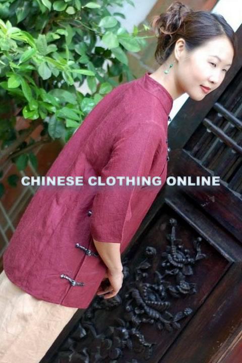 Elbow-sleeve Mandarin Blouse (CM)