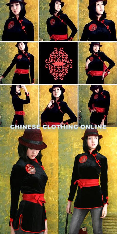 Long-sleeve Mandarin Blouse w/ Sash (CM)