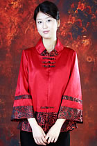 Bargain - Long-sleeve Mandarin Wadded Jacket