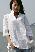 Ethnic Long-sleeve Standing Collar dual-layer effect Blouse (CM)