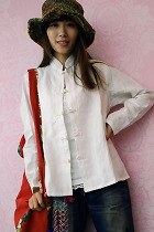 Ethnic Long-Sleeve Standing Collar Blouse/Jacket (CM)