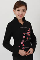 Bargain - Mandarin Plum Blossom Wool Jacket (Black)