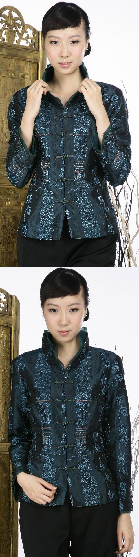 浮雕繡花中式外套(綠色)