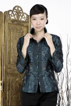 Embossed Embroidery Mandarin Jacket (Green)