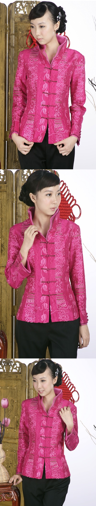 Embossed Embroidery Mandarin Jacket (Fuchsia)