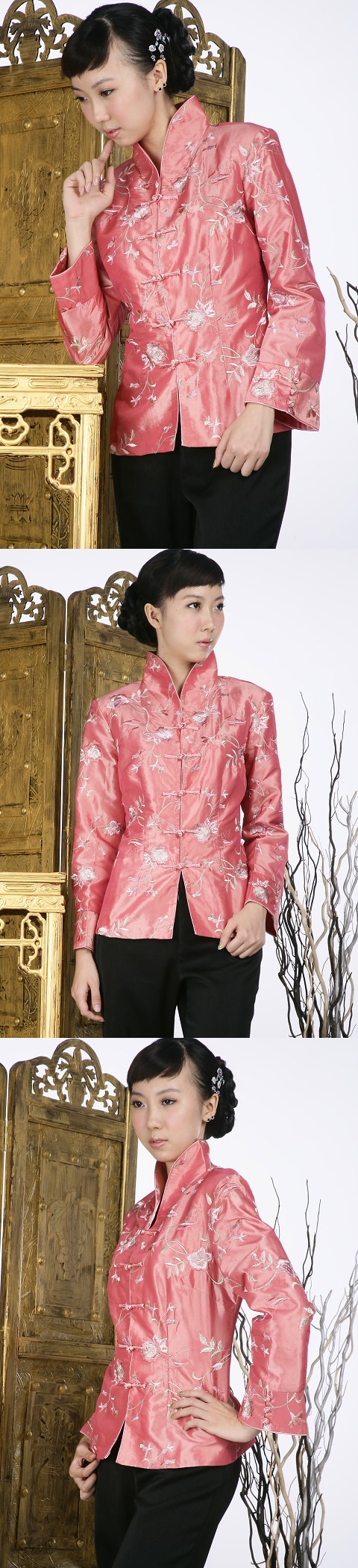 Floral Embroidery Mandarin Jacket (Orange)