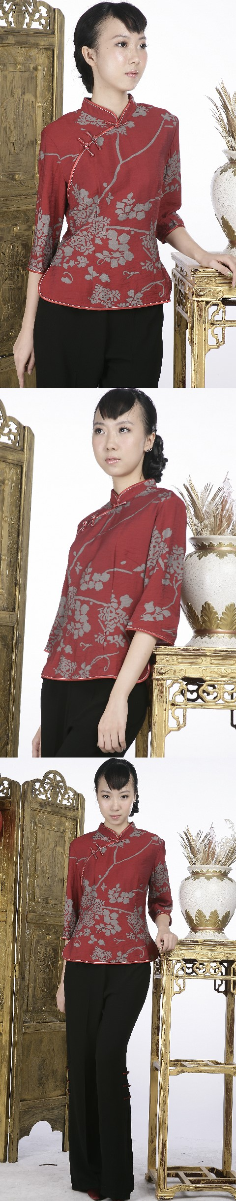 3/4-sleeve Floral Mandarin Blouse (Rusty Red)