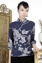 印花中式七分袖上衣(藏青)