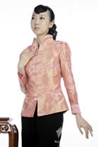 Embossed Floral Embroidery Mandarin Jacket (Orange)