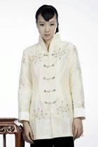 Embossed Floral Embroidery Mandarin Jacket (Light Gold)