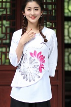Hand-Painting Dual-layer Ethnic Blouse (Ready-Made)
