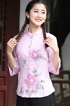 Hand-Painting Lotus 3/4-sleeve Chinese Ethnic Blouse (Ready-Made)