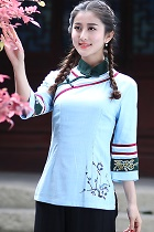 Featured 3/4-sleeve Chinese Ethnic Blouse (Ready-Made)