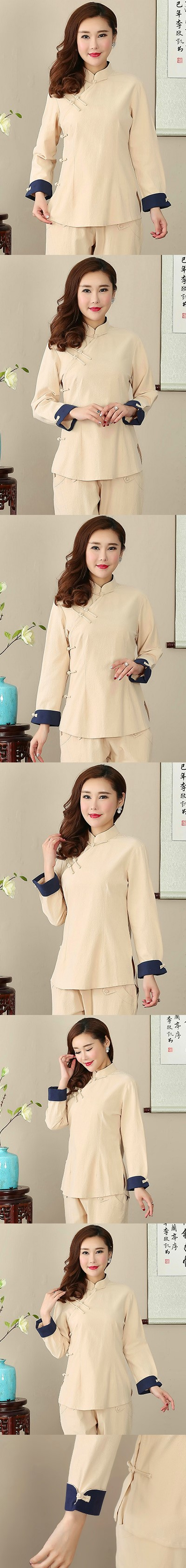 Long-sleeve Chinese Ethnic Cotton Linen Blouse (Ready-Made)