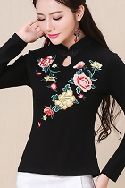 民族風長袖花卉刺繡上衣-黑色 (成衣)