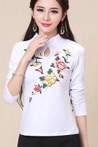 民族風長袖花卉刺繡上衣-白色 (成衣)