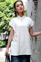 Ethnic Short-Sleeve Standing Collar Pullover (CM)