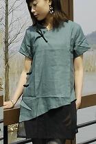 Ethnic Short-sleeve Blouse (CM)