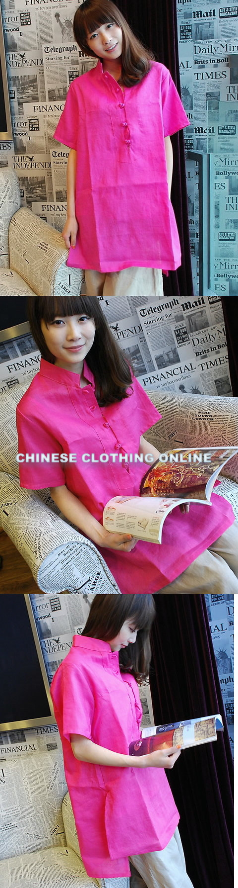 Ethnic Short-sleeve Linen Long-Blouse (CM)