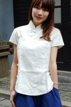 Ethnic Cup-Sleeve Standing Collar Blouse (CM)