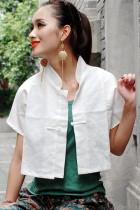 Ethnic Short-sleeve Short Blouse (CM)