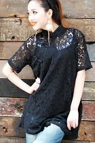 Ethnic Short-Sleeve Standing Collar Blouse/Jacket (CM)