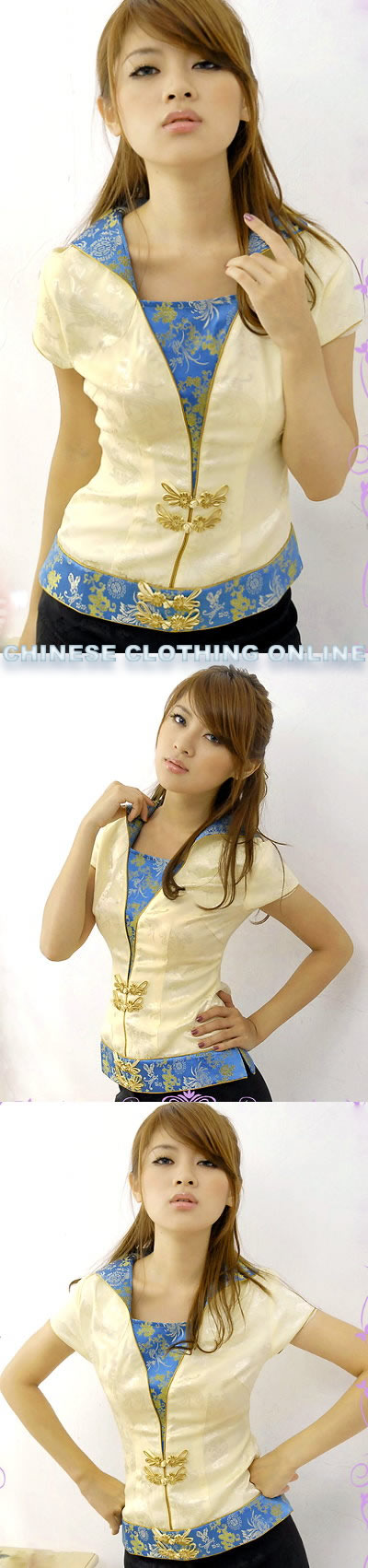 Short-sleeve Foldable Collar Blouse (CM)