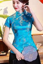 Short-sleeve Dragon and Phoenix Embroidery Mandarin Blouse (RM)