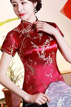 Short-sleeve Plumb Blossoms Embroidery Mandarin Blouse (RM)