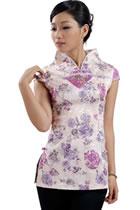 Cup-sleeve Jacquard Mandarin Blouse (RM)