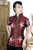 Short-sleeve Floral Embroidery Mandarin Blouse (Maroon)
