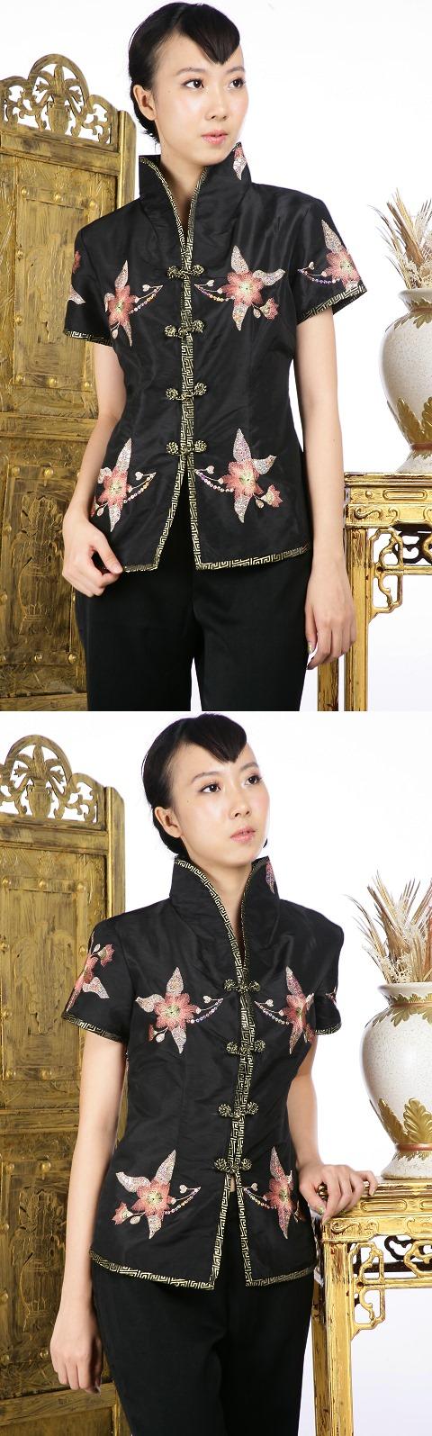 亮片繡花中式短袖上衣(黑色)