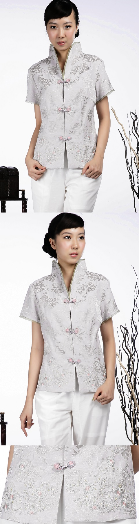 Short-sleeve Floral Embroidery Mandarin Blouse (Silver)