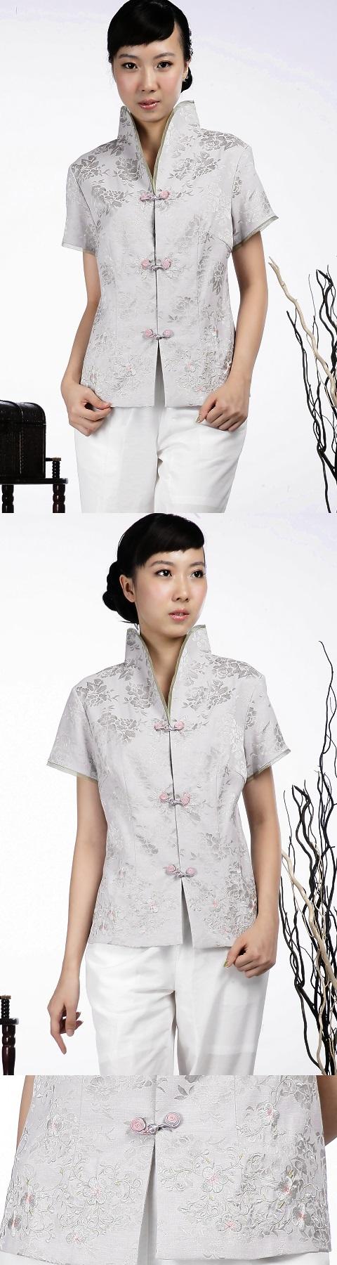 繡花中式短袖上衣(銀灰)