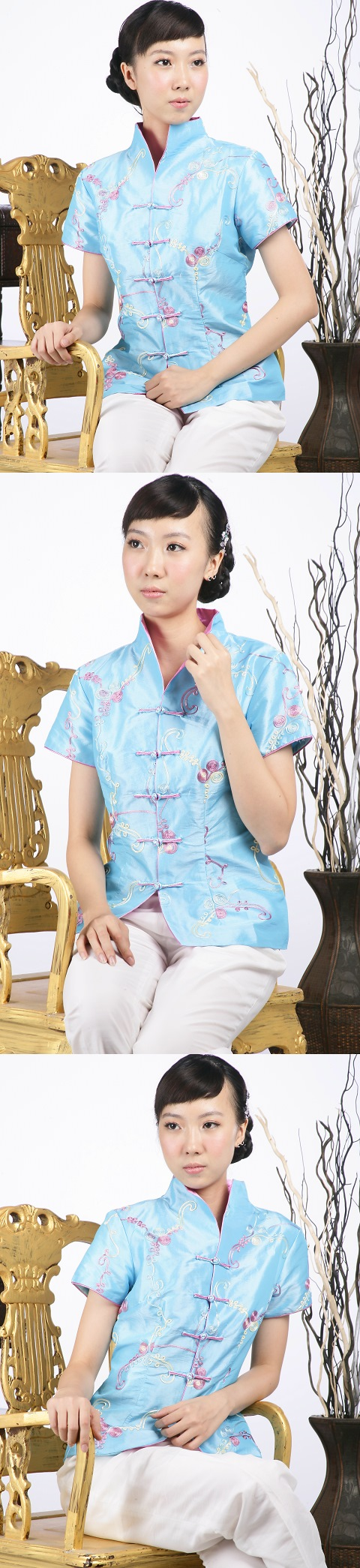 浮雕繡花中式短袖上衣(粉藍)
