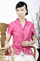 Short-sleeve Embossed Embroidery Mandarin Blouse (Fuchsia)