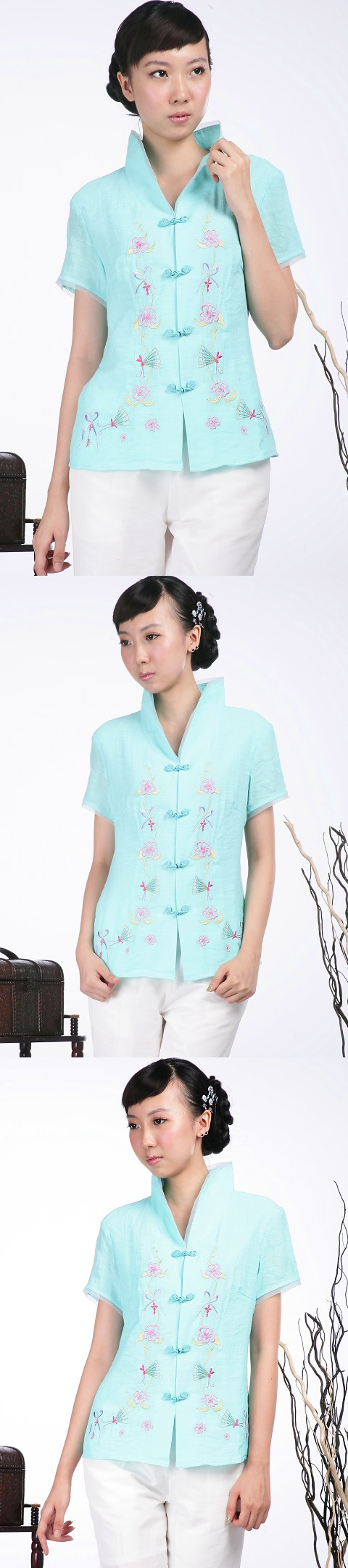 繡花中式短袖上衣(水藍)