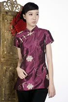 Short-sleeve Embossed Embroidery Mandarin Blouse (Purple)