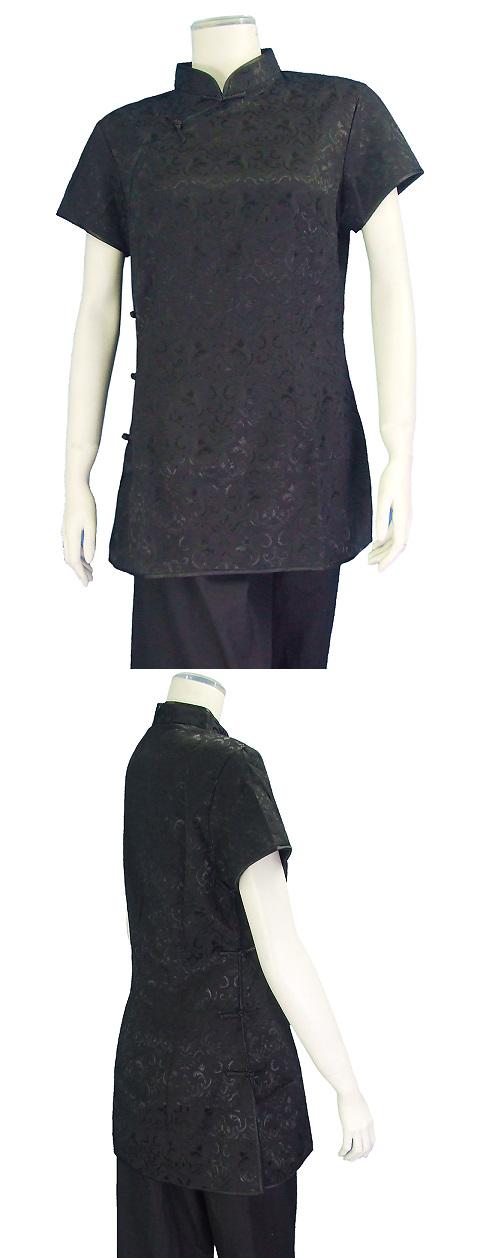 繡暗花中式斜襟短袖上衣(黑色)