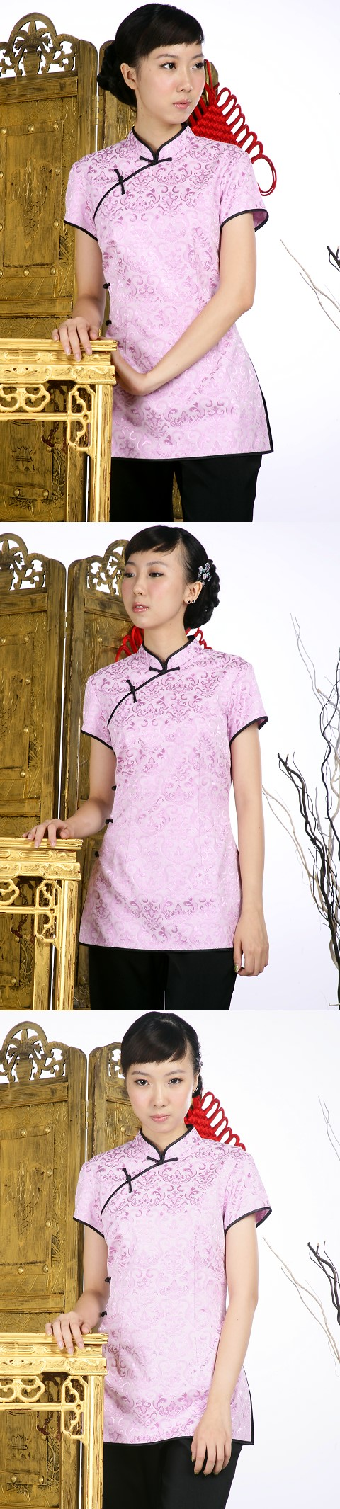 Short-sleeve Shadow Embroidery Mandarin Blouse (Light Violet)