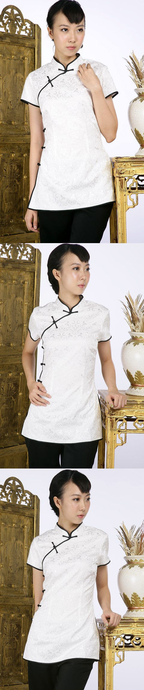 Short-sleeve Shadow Embroidery Mandarin Blouse (White)