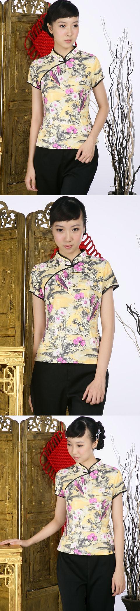 Short-sleeve Floral Mandarin Blouse