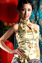 Cut-in Shoulders Bareback Mandarin Blouse w/ Sash (CM)
